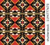 aztec pattern on red background ... | Shutterstock .eps vector #1194777673