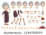aged woman in glasses and brown ... | Shutterstock .eps vector #1194783919