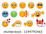 set of yellow emojis isolated... | Shutterstock .eps vector #1194792463