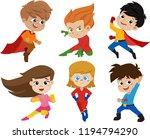 set of kids wearing superhero...   Shutterstock .eps vector #1194794290