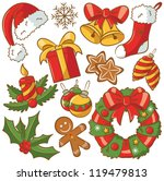cute doodle icons on christmas... | Shutterstock .eps vector #119479813