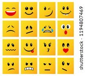 set of square yellow emoticons...   Shutterstock .eps vector #1194807469