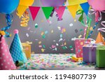colorful hats flag garland... | Shutterstock . vector #1194807739