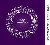 merry christmas wreath   vector ... | Shutterstock .eps vector #119481664