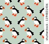puffin seabird seamless vector... | Shutterstock .eps vector #1194831406