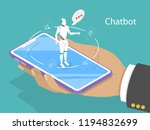 flat isometric concept of chat... | Shutterstock . vector #1194832699