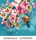 greeting card with bird and... | Shutterstock . vector #119483950