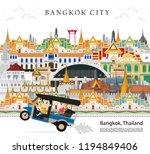 travel to bangkok in thailand... | Shutterstock .eps vector #1194849406