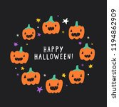 cute and funny halloween card.... | Shutterstock .eps vector #1194862909