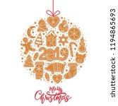 set of christmas gingerbread... | Shutterstock .eps vector #1194865693