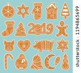 set of gingerbread cookies... | Shutterstock .eps vector #1194865699