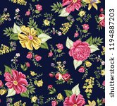 vintage flower pattern on navy | Shutterstock .eps vector #1194887203
