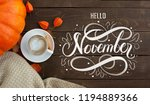 a cup of coffee with cappuccino ... | Shutterstock . vector #1194889366