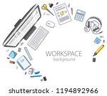 office desk workspace top view... | Shutterstock .eps vector #1194892966