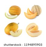 set with sliced fresh ripe... | Shutterstock . vector #1194895903