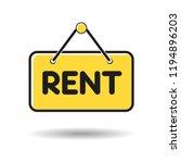 hanging door sign board with... | Shutterstock .eps vector #1194896203