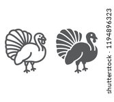 turkey bird line and glyph icon ... | Shutterstock .eps vector #1194896323