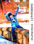 happy cute boy outdoor in the... | Shutterstock . vector #1194908890