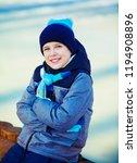 happy cute boy outdoor in the... | Shutterstock . vector #1194908896
