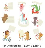 Stock vector form for the text with cute animals 1194913843