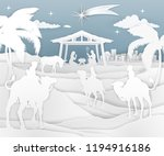 a nativity christmas scene in a ... | Shutterstock .eps vector #1194916186