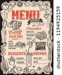 brunch menu template for... | Shutterstock .eps vector #1194925159