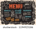 bagel and sandwich menu... | Shutterstock .eps vector #1194925186