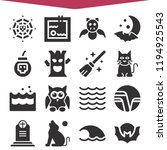 set of 16 nature filled icons... | Shutterstock . vector #1194925543