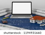 construction plans with laptop...   Shutterstock . vector #1194931660