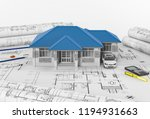 construction plans with drawing ...   Shutterstock . vector #1194931663