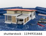 construction plans with drawing ...   Shutterstock . vector #1194931666
