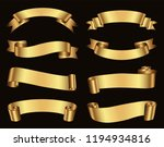 retro golden ribbons vector... | Shutterstock .eps vector #1194934816