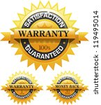 Customer satisfaction guaranteed gold badge and banner EPS 10