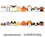 cute dogs and cats looking up...   Shutterstock .eps vector #1194955306