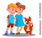 Stock photo boy and girl walk the dog pet illustration 1194963010