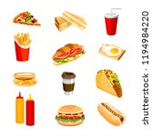 fast food and drinks | Shutterstock .eps vector #1194984220