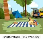 picnic scene with tent  car and ... | Shutterstock .eps vector #1194984229