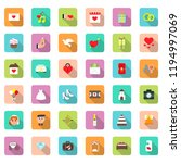 wedding icon set in flat style... | Shutterstock . vector #1194997069