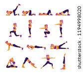 gym and yoga exercises poses... | Shutterstock .eps vector #1194998020