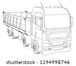 dump truck sketch. isolated on... | Shutterstock .eps vector #1194998746