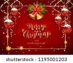 red christmas card with... | Shutterstock .eps vector #1195001203