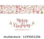 merry christmas with decorative ... | Shutterstock .eps vector #1195001206