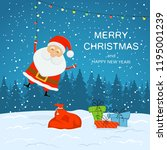 happy santa claus with bag ... | Shutterstock .eps vector #1195001239