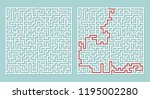 illustration of maze labyrinth. | Shutterstock . vector #1195002280