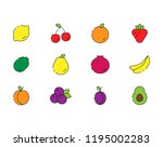 icon set of fruits in modern... | Shutterstock . vector #1195002283