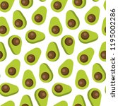 seamless pattern of avocado in ... | Shutterstock . vector #1195002286