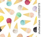 seamless pattern of ice cream...   Shutterstock . vector #1195005373