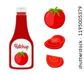 set of ketchup with sliced and...   Shutterstock . vector #1195005379