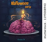 halloween party   brains on the ... | Shutterstock .eps vector #1195008943