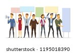 business people on strike  ... | Shutterstock .eps vector #1195018390